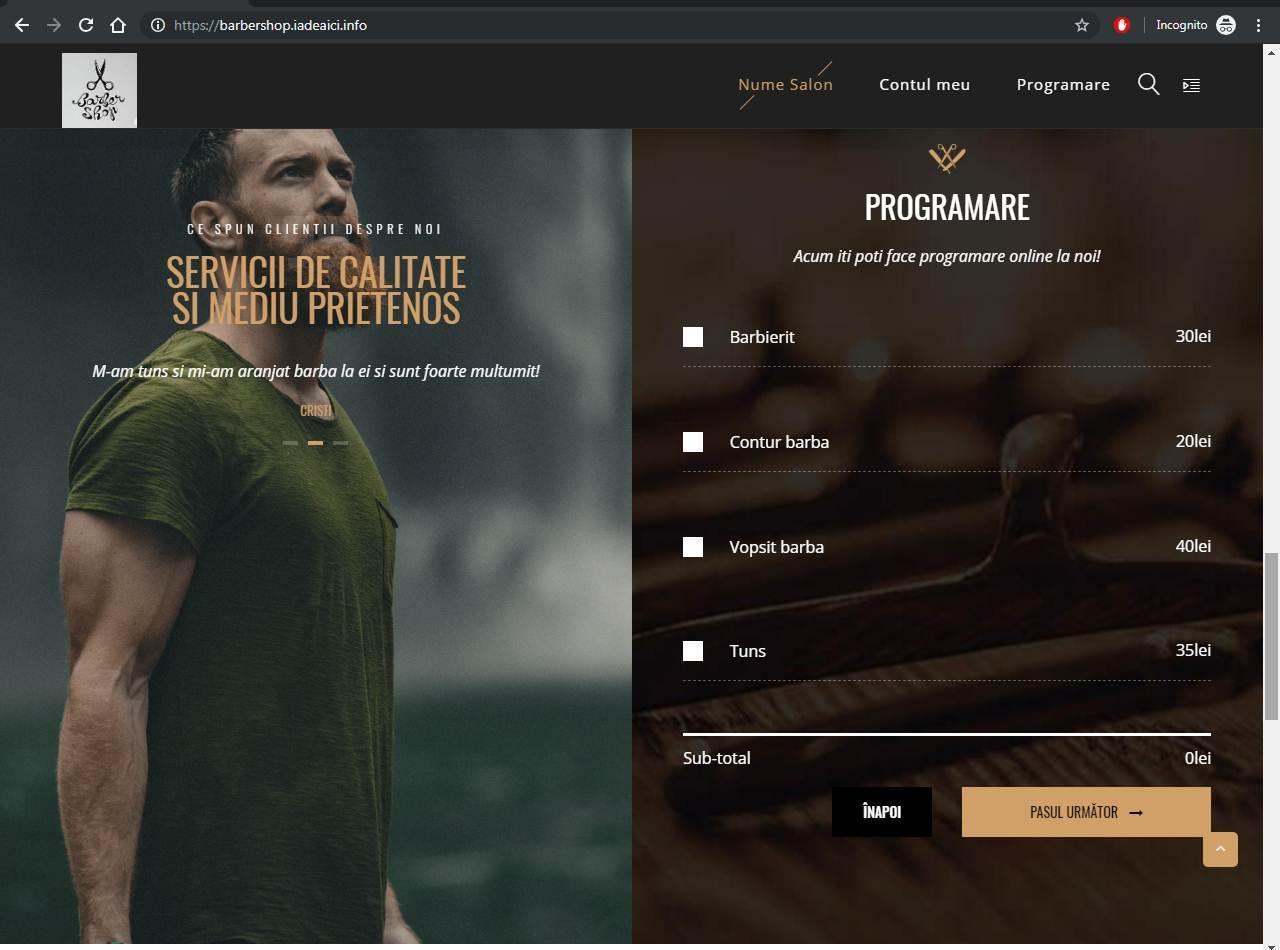 Model de site cu rezervari online – Barber Salon